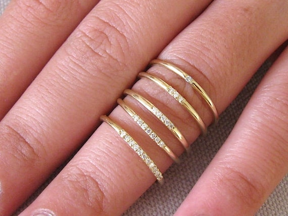 Delicate Wedding Bands | Delicate Wedding Bands For Women 14k Solid Gold Wedding Ring Etsy