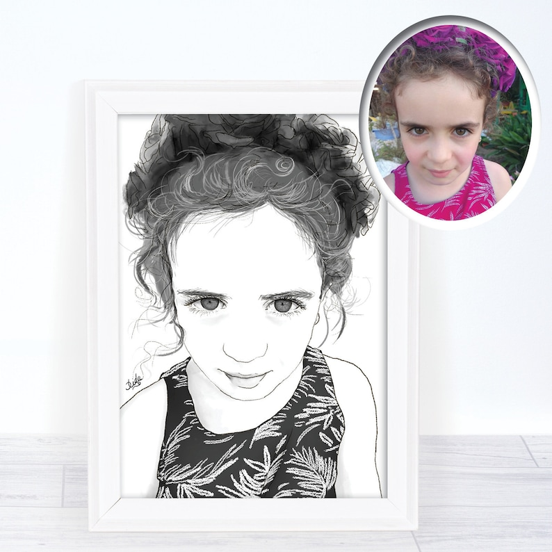 Personalized B W Portrait Of Girl Gift Ideas For Kids And Etsy