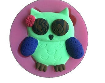 Pink OWL silicone mold for polymer clay