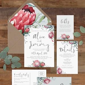 Protea Wedding Invitation Set Printable Rustic Wedding Etsy