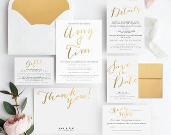 Gold Wedding Invitation Set/ Printable Wedding Stationery/ Wedding Invites/ Wedding Invitations/ Wedding Invitation Template/ Wedding Suite