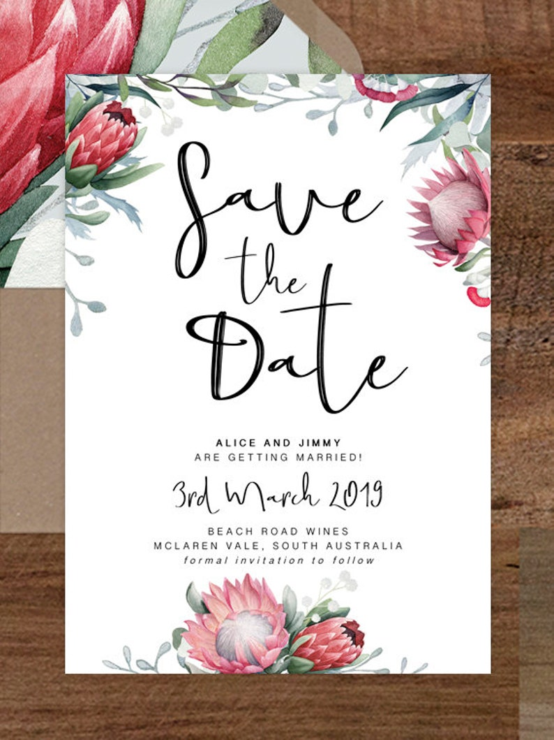 Protea Save the Date Card Printable Save the Dates Wedding InvitationNative Floral Save the Date Cards Wedding Invite WILD HEARTS SUITE
