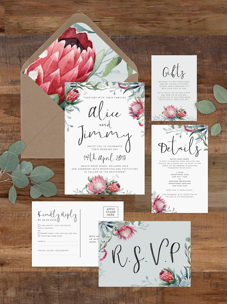 image regarding Free Printable Rustic Wedding Invitations called WILD HEARTS Wedding day Invitation Suite / Printable Invitation Template / Rustic Marriage ceremony / Protea Wedding day / Absolutely free Printable Envelope Liner