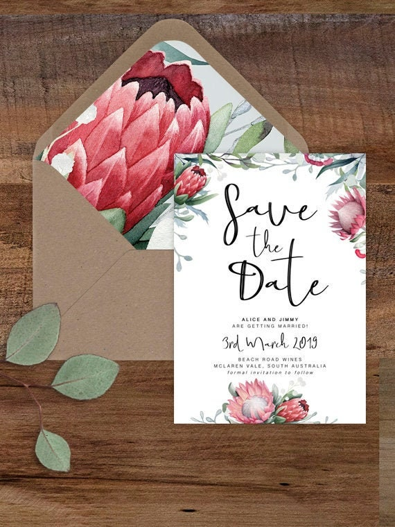 picture relating to Printable Save the Date Cards named Protea Preserve the Day Card/ Printable Help save the Dates/ Wedding day Invitation/Indigenous Floral Help you save the Day Playing cards/ Marriage Invite/ WILD HEARTS SUITE