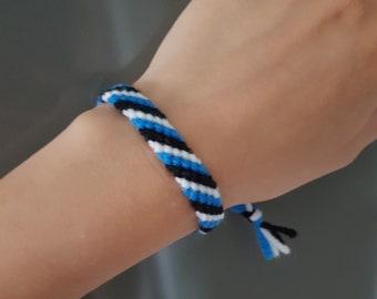Friendship bracelet, Blue black white bracelet, Summer bracelet, Handmade