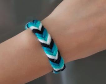 Friendship bracelet, Green black white bracelet, Summer bracelet, Handmade