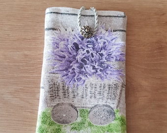 Mobile phone case with a button, handmade product