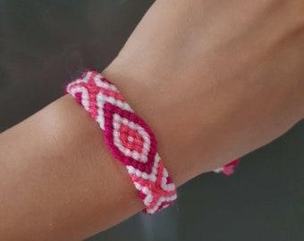 Friendship bracelet, Pink bracelet, Summer bracelet, Handmade
