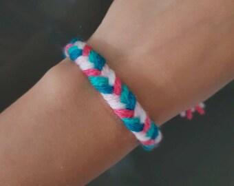 Coloured bracelet, Green and pink bracelet, Summer bracelet, Handmade