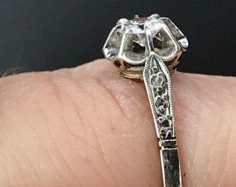 Antique art deco platinum and 18k gold diamond ring