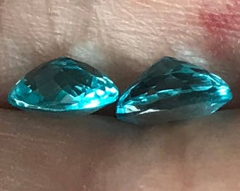 Paraiba-color (neon) apatite gemstones for earrings / studs