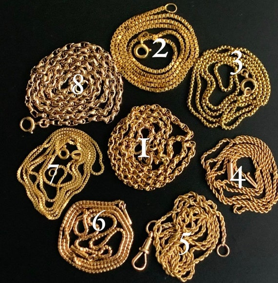 Antique and vintage gold chains, 9, 14, 15 and 18K