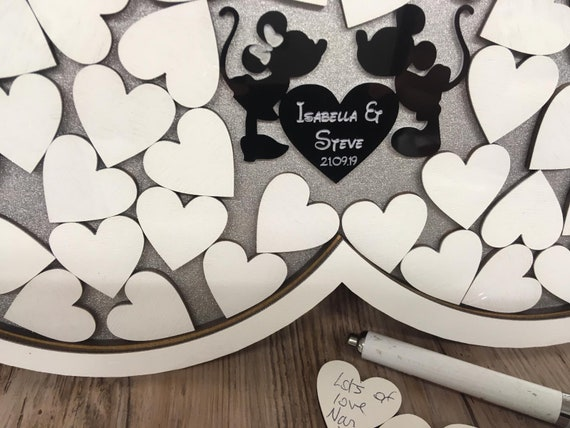 Minnie Mickey Mickey red bow hearts Disney inspired wedding guest book drop box guests