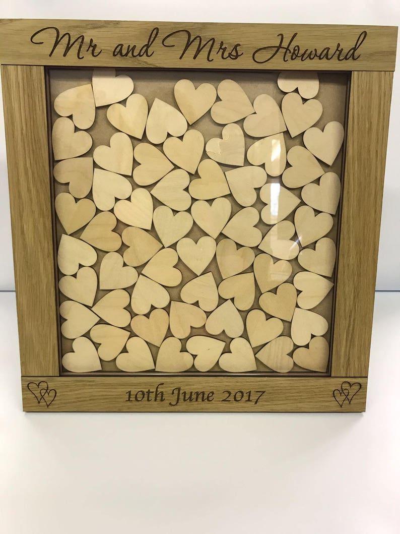 Personalised oak wooden wedding guest book heart drop box hearts gift keepsake rustic vintage wedding guestbook alternative wooden dropbox