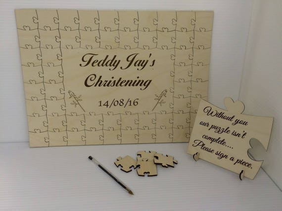 Personalised christening bear3 wooden jigsaw guest book puzzle keepsake gift