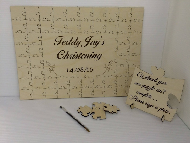 Gifts Personalised christening owl2 wooden jigsaw guest book puzzle keepsake gift Baby