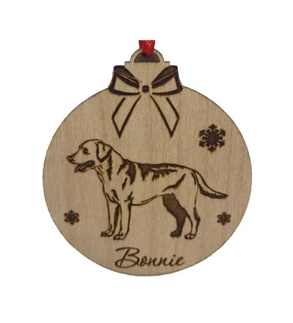 Akita pet dog Christmas personalised engraved birch plywwod xmas bauble