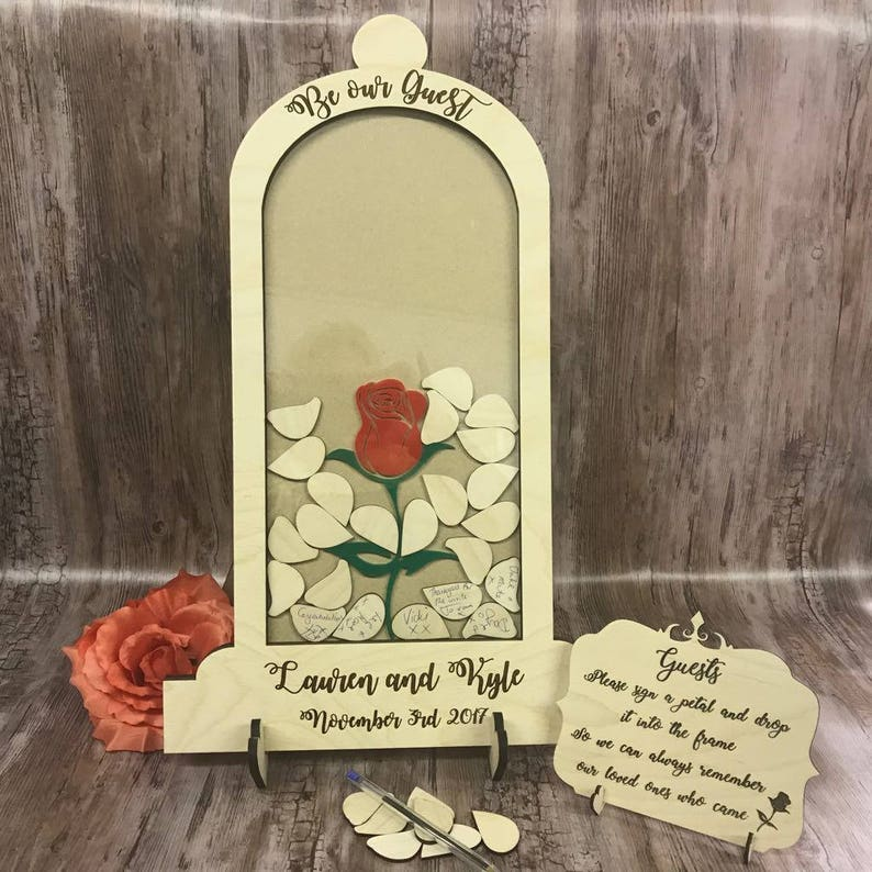 Beauty And The Beast Themed Wedding.Beauty And The Beast Be Our Guest Themed Wedding Drop Box Alternative Guest Book Dome Jar Birthday Guestbook Petals Rustic Vintage Wooden
