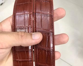 Premium handmade Men Belt Brown Genuine Alligator CROCODILE Leather Skin Men/'s BELT Unique Belt for him,Gift for him