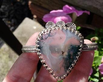 Moss agate sterling silver adjustable cuff bracelet