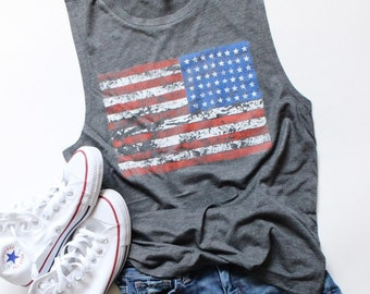 dcb35bb69a6e2 American Flag Flowy Muscle Tank - Guaranteed by The 4th of July - Patriotic  Tank - 4th of July Tank - Independence Day Tank - Memorial Day