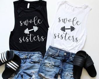 68f999fcecb25 Swole Sisters 2 Pack- Flowy Muscle Tanks - Gym Tank - Yoga Shirt -Workout  Shirt - Swole Tank for Women
