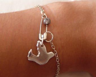 Bird charm safety pin bracelet chain