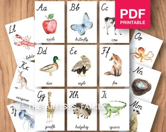 ALPHABET Cards Watercolor Montessori Flash Educational Material Homeschooling Printable Realistic Animals Learning PDF Simple Cursive ABC