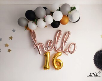 Hello Script Rose Gold Balloons 16 Birthday Sweet 16th Party Happy Custom Age