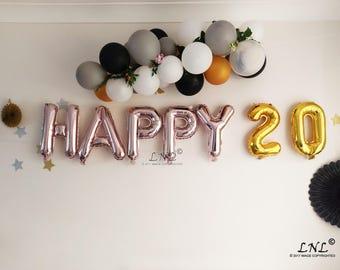 Happy 20 Rose Gold Balloons Birthday Ballloons Garland Silver Party Bon Anniversaire Age Custom