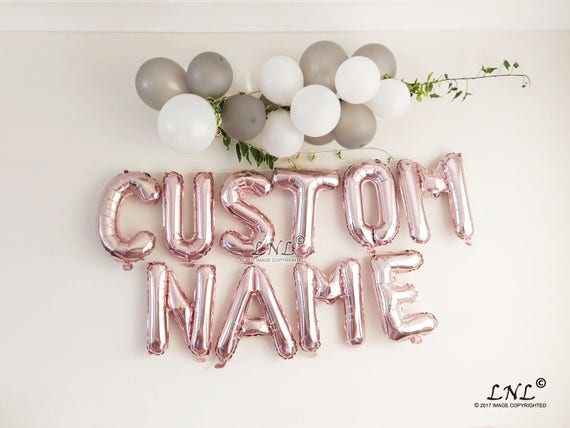 """CUSTOM NAME ROSE GOLD SILVER 3 D BALLOON 16/"""" BANNER BIRTHDAY PERSONALISED AGE"""