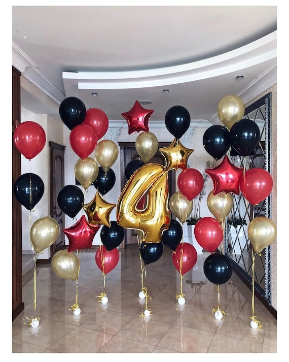 *NEW* Birthday Decoration Black and Gold 18th with Balloons Gold Black Gold
