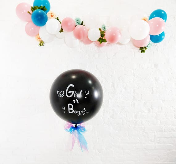 Gender Reveal Black Balloon butterfly Pink Blue Confetti Tail Tassel Oh Baby