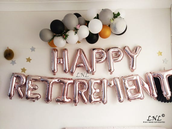 """HAPPY RETIREMENT 16/"""" balloons foil Rose Gold Silver Letters Banner Garland"""