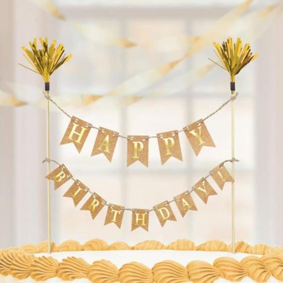 Fine Cake Topper Happy Birthday Cake Topper Kraft Flags Frills Etsy Funny Birthday Cards Online Necthendildamsfinfo