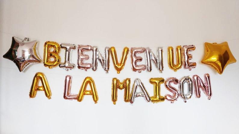 Rose Gold Balloons BIENVENUE A LA Maison Letter Ballloons   Etsy