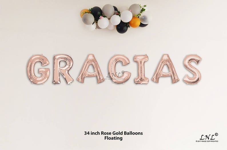 GRACIAS Rose Gold Balloons 34 Letter Ballloons Garland Balloons Wedding Bride Bridal Birthday Party Graduation Floating Helium Air