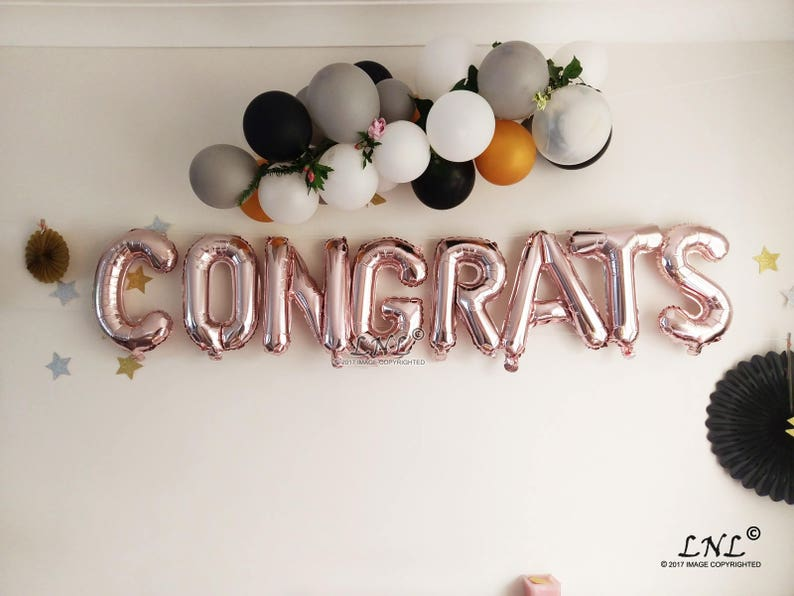 Congrats Rose Gold Balloons Christmas Garland New Year Banner Balloon Banner Gold Silver Graduation Letters Custom Name Grad