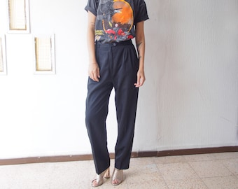 High Rise Black Trousers 28 - 30, 90s Baggy Pleated Waist Pants, Vintage Tailored Tapered Leg Pants Chinos, Size 38/40 (28/40)