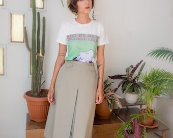 Jupe vintage en vert pistache, midi une ligne haute jupe, jupe de Secrétaire vert