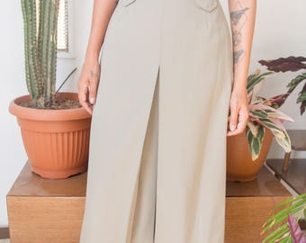 d33cbbb94 80s Fitted A Line Skirt, Vintage Khaki Below Knee Skirt With Front Slit and High  Waist