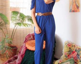 f25a058f9392 80s 70s Jumpsuit in Blue