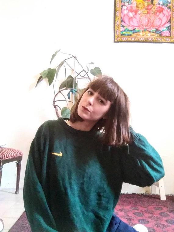 NIKE Swoosh sweater, Vintage Green Nike Sweater, C
