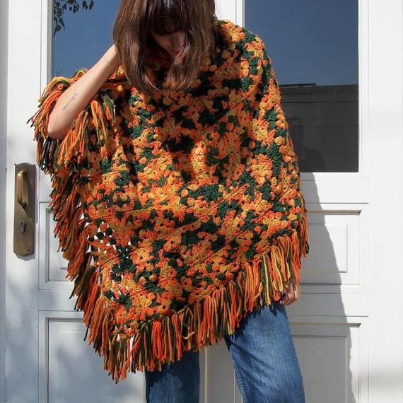 Vintage Poncho, Chunky Crochet Poncho, 70's Chunky