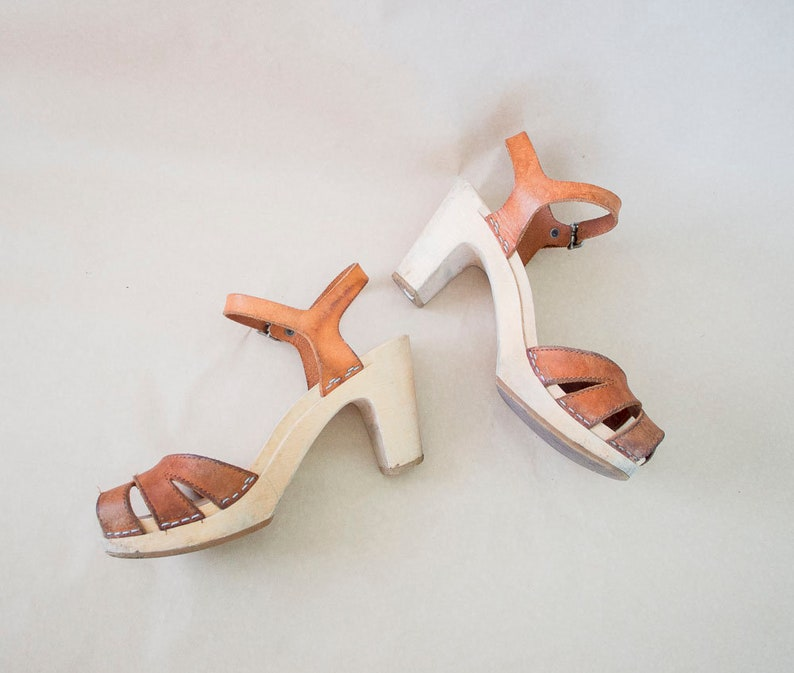 cf5440ea0 Heeled Wooden Sandals Tan Brown Heel Clog Ankle Strap Sandal