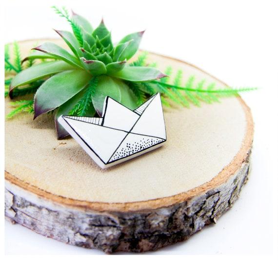 Papierschiff Pin, Schiffchen Brosche PIN Abzeichen