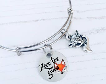 Fox Jewellery, Zero Fox Given Charm Bracelet, Fox Lover Gift, Cute Fox Bangle, Fox Bracelet, Fox Gifts, Animal Bangle, WORLDWIDE SHIPPING.