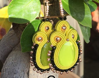 Acid Green and black earrings