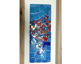 Creative Mosaic. Handmade.  Glass panel, gold and glass paste.