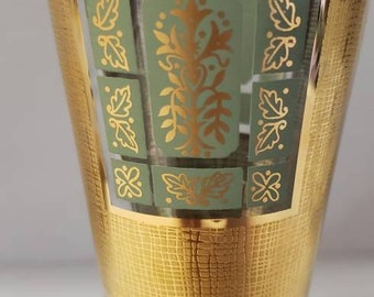 Beautiful Vintage Midcentury Modern  Georges Briard beer glass green and gold Stunning
